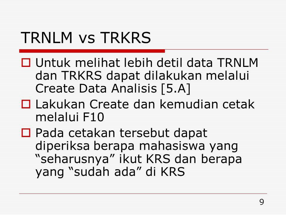 TRNLM vs TRKRS Untuk melihat lebih detil data TRNLM dan TRKRS dapat dilakukan melalui Create Data Analisis [5.A]